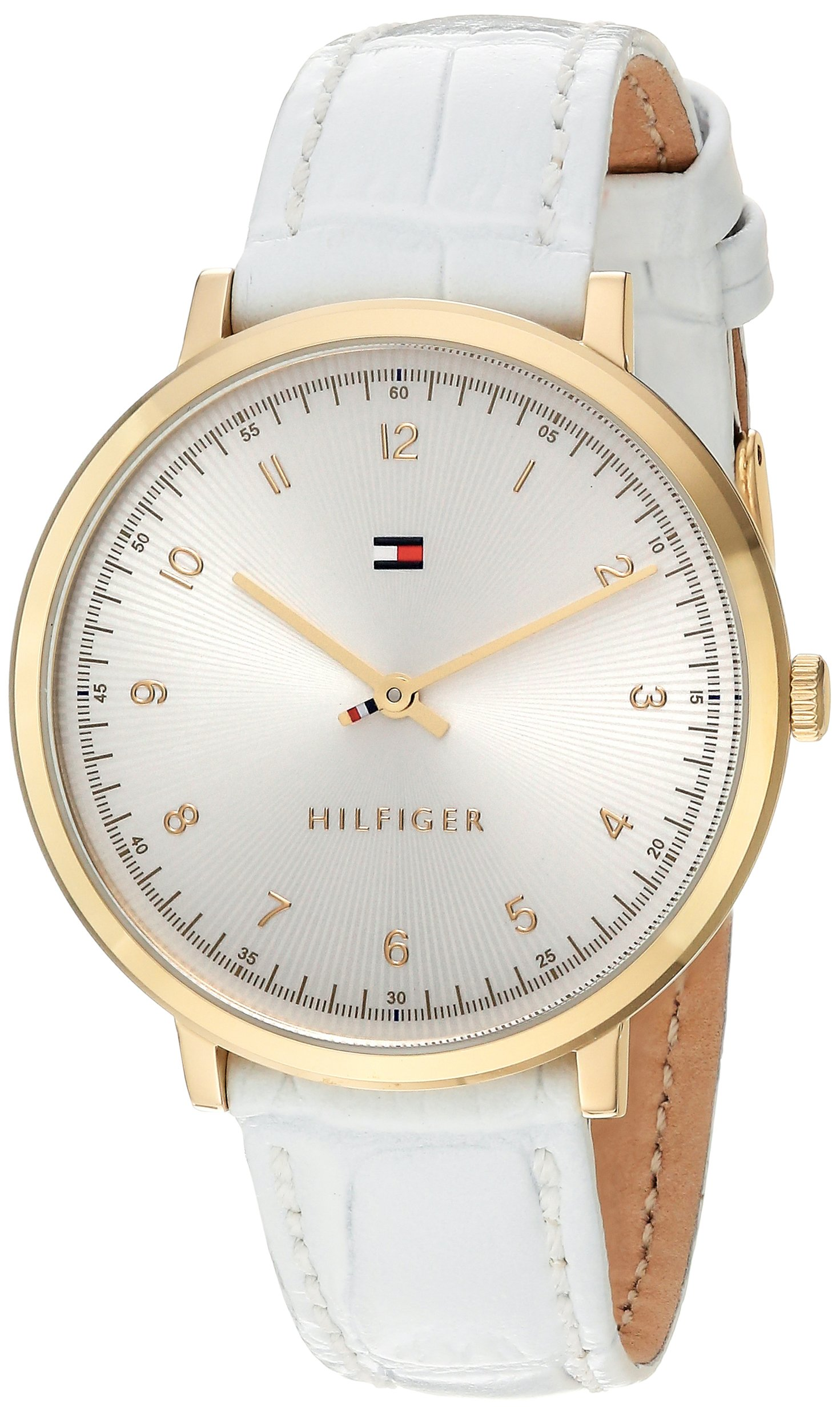 Tommy Hilfiger Women's 'SPORT' Quartz Gold-Tone and Leather Casual Watch, Color: White (Model: 1781763)