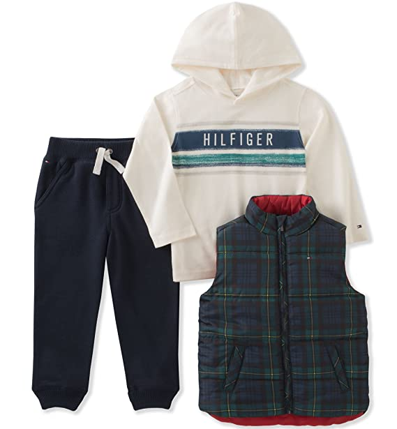 1f82ce8d Tommy Hilfiger Boys' Toddler Girls' 3 Pc Puffy Vest Sets, Green/Navy ...