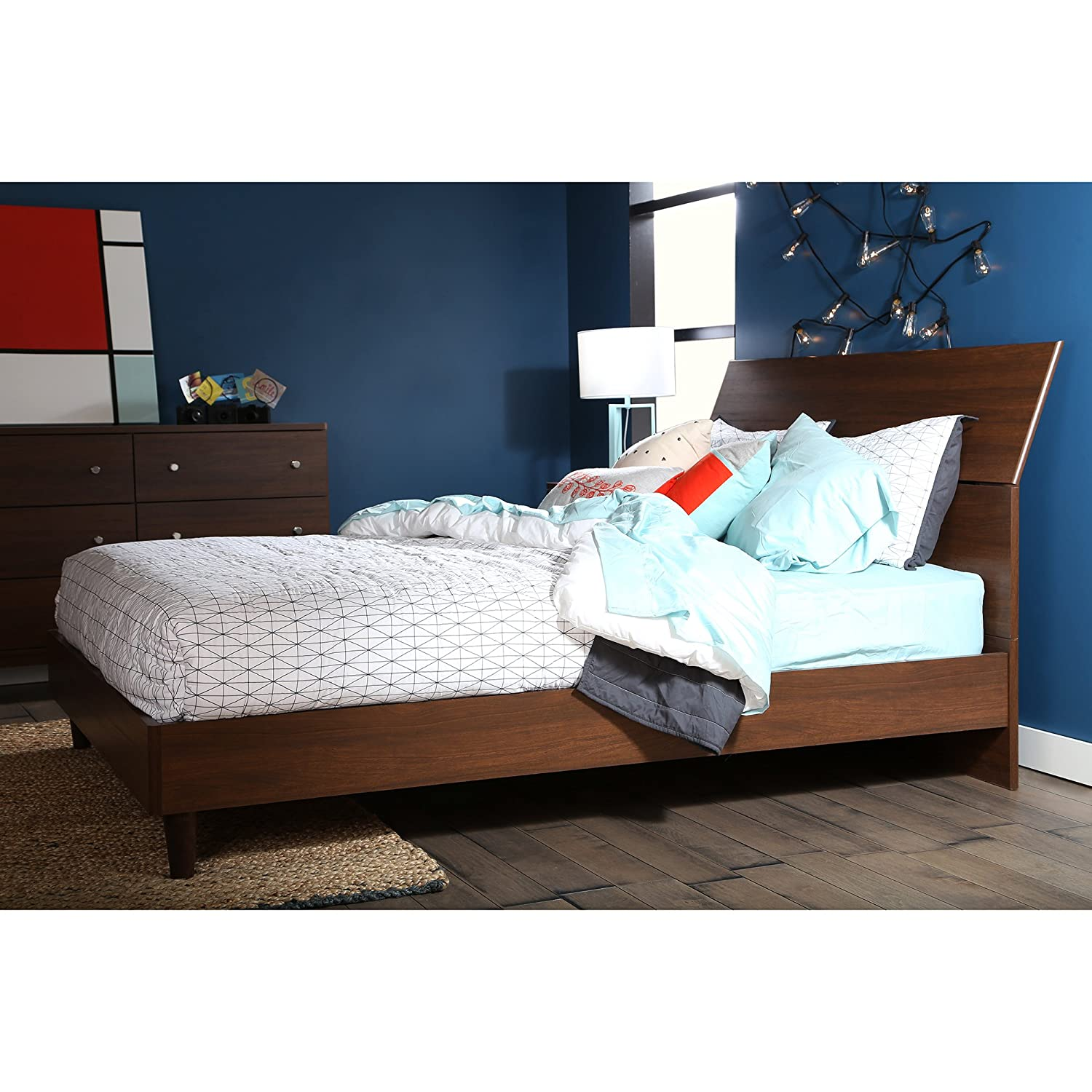amazoncom south shore 60inch olly midcentury modern platform bed with headboard queen brown walnut kitchen u0026 dining