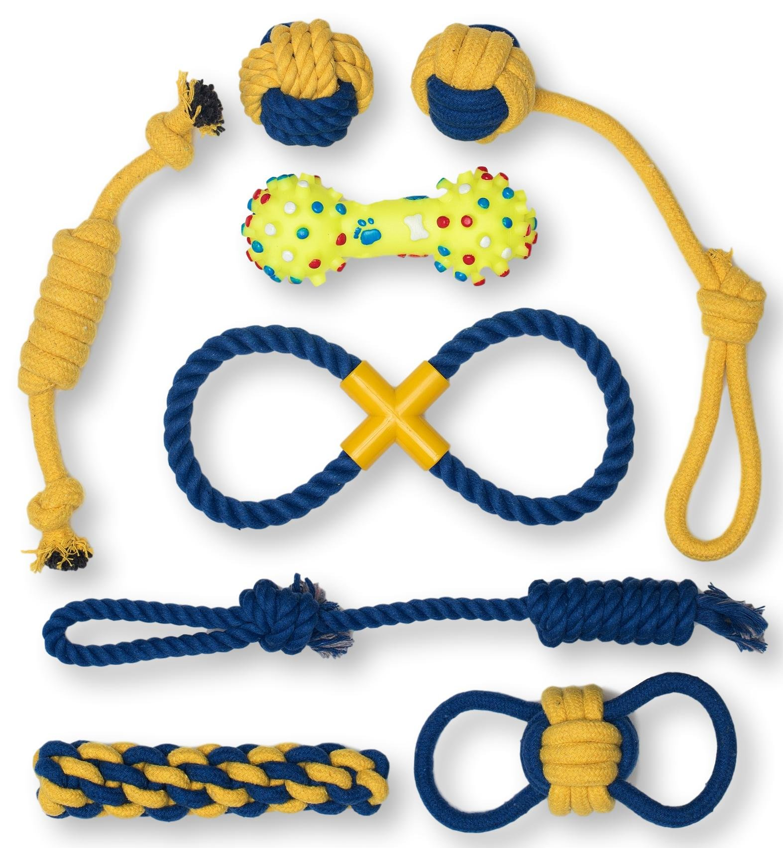 Premium Indoor and Outdoor Dog Toys Set by Terrier Chewz. Suitable Rope and Rubber Chew Toys for Small Breed Dogs and Puppys. Durable and Washable. Pack of 8