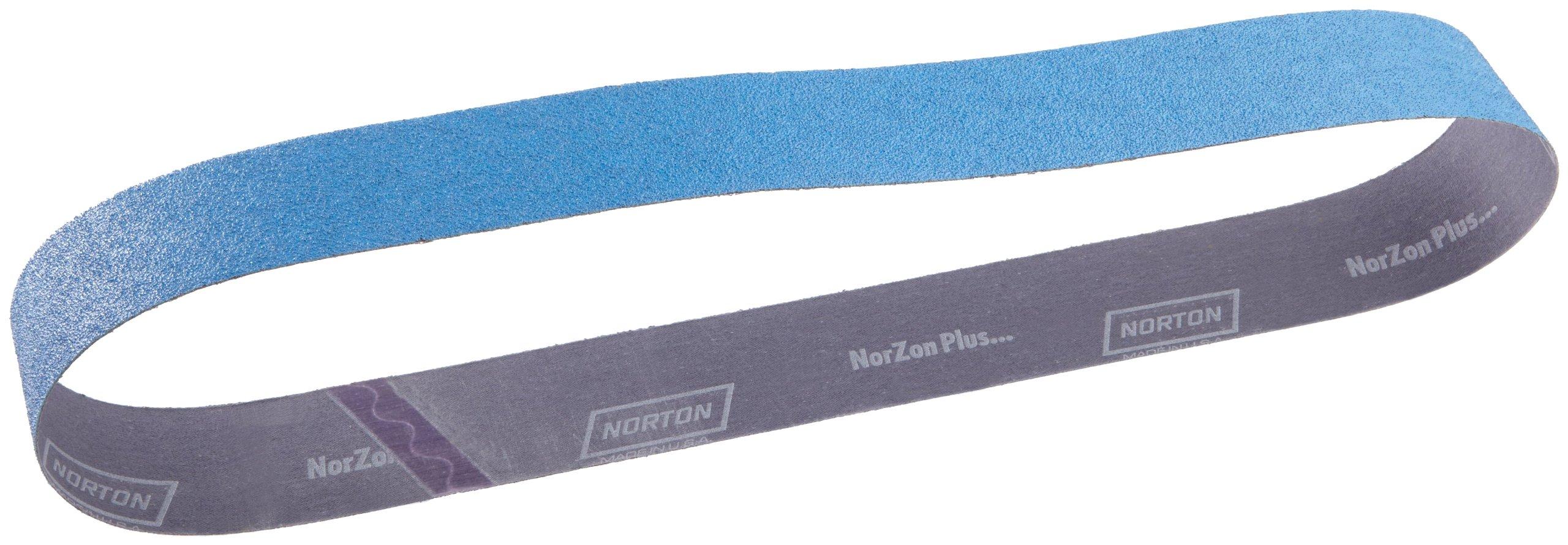 Norton BlueFire R821P Benchstand Abrasive Belt, Cotton Backing, Zirconia Alumina, 2-1/2'' Width, 60'' Length, Grit 50 (Pack of 10)