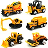 JellyDog Inertia Toy Early Engineering Vehicles Friction Powered Kids Dumper,Bulldozers,Forklift,Tank Truck,Asphalt Car and Excavator 6 Set Toy for Children Kids Boys and Girls