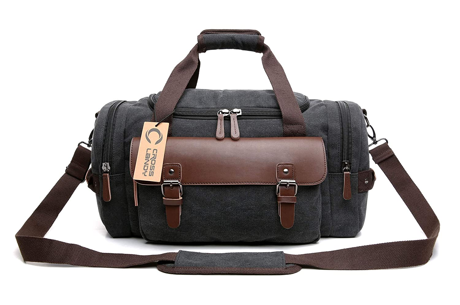 c255e13dcc9 Amazon.com   CrossLandy Canvas Gym Bag for Men Women Leather Overnight Bag  Travel Carry on Duffel Sports Weekend Tote Bags   Sports Duffels