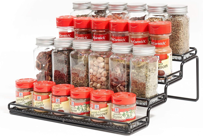 Amazon Com Meiqihome 4 Tier Spice Rack Organizer Step Shelf Countertop Spice Storage Holder For Kitchen Cabinet Cupboard Pantry Metal Black Home Improvement