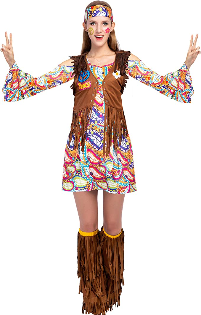 60s Costumes: Hippie, Go Go Dancer, Flower Child, Mod Style Spooktacular Creations Peace Love 60s/70s Happy Hippie Costume for Women with Hippie Accessories $23.99 AT vintagedancer.com