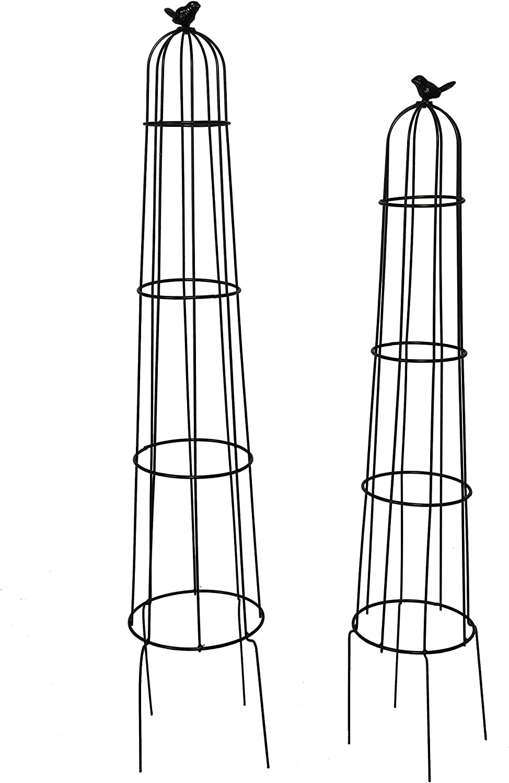 1.Go 2 Packs Garden Obelisk Metal Trellis Flower Support for Climbing Vines and Plants, 42.5