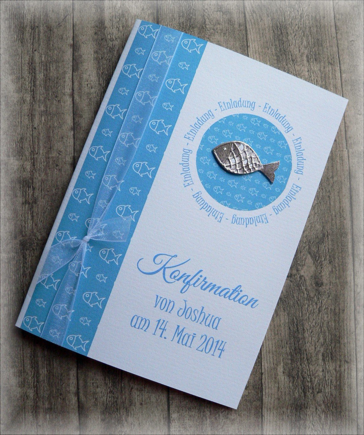 Einladung Einladungskarte Kommunion Konfirmation Taufe Fisch silber blau tü rkisblau