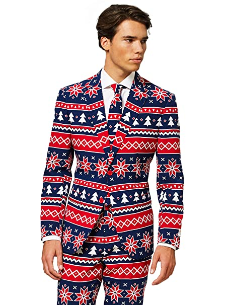OppoSuits Christmas Suits for Men in Different Prints – Ugly Xmas Sweater Costumes Include Jacket Pants & Tie