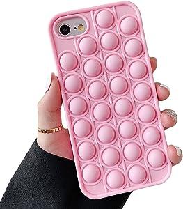 Cocomii Push Pop Fidget Toy iPhone SE 2020/iPhone 8/iPhone 7 Case, Slim Matte Soft TPU Push Pop Bubble Fidget Sensory Toy Anxiety Stress Bumper Cover Compatible with iPhone SE 2020/iP8/iP7 (Pink)