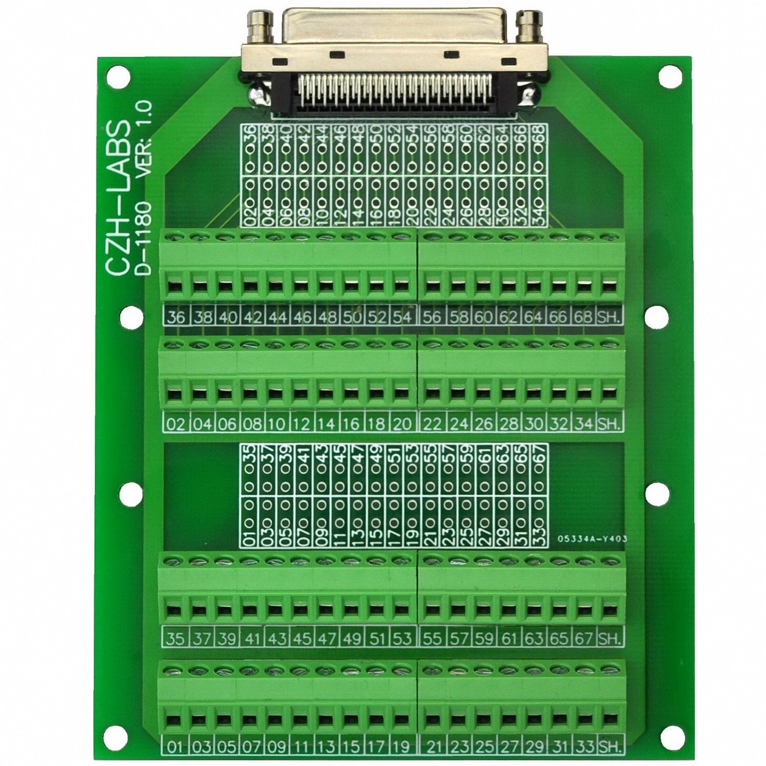 Electronics-Salon 68-Pin VHDCI DSUB SCSI-5 Screw Terminal Block Breakout Board.
