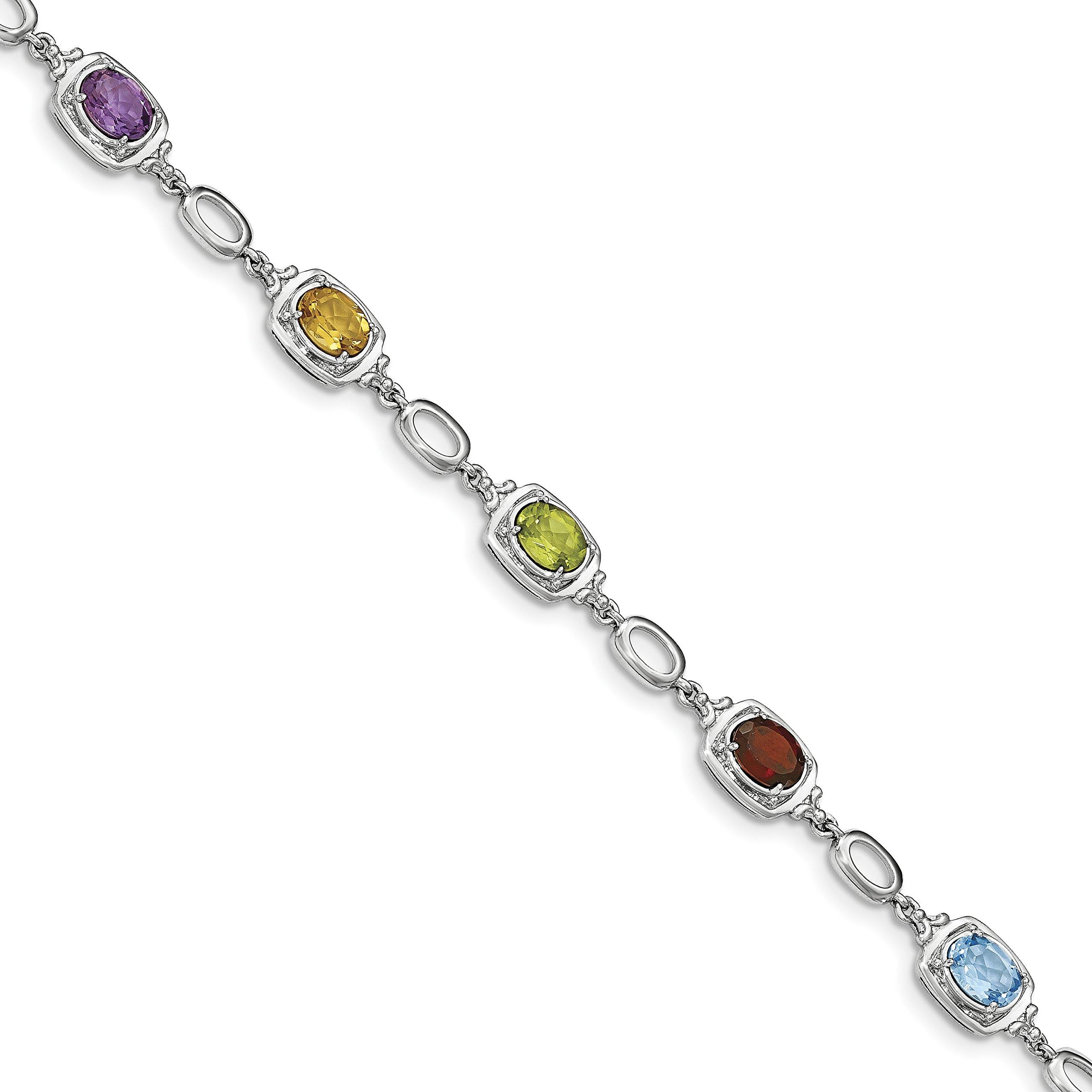 ICE CARATS 925 Sterling Silver Multi Gemstone Link Bracelet 7.50 Inch Fine Jewelry Gift Set For Women Heart