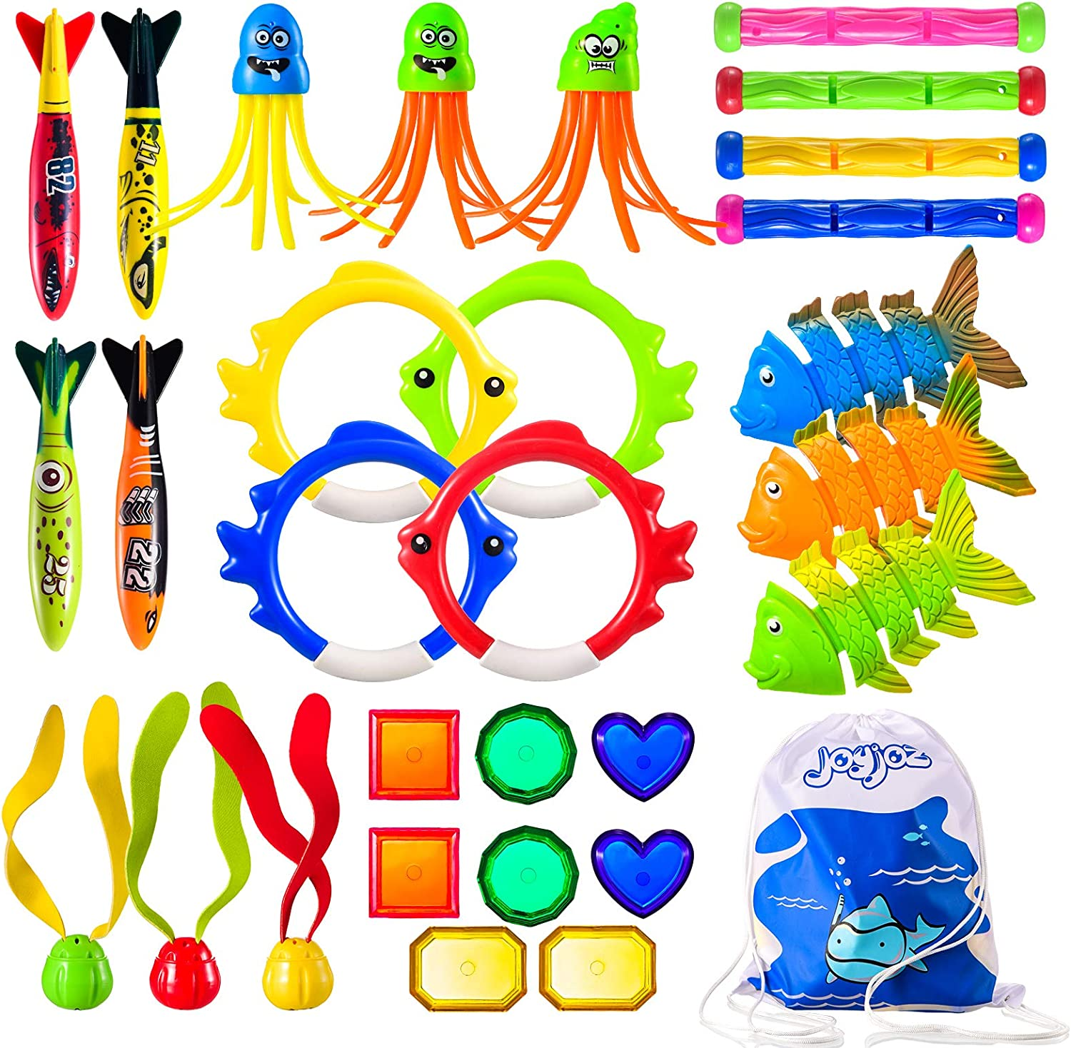Joyjoz 30 Piece ?Dive Pool Toys Underwater Summer Swimming Pool Toys Gifts for Kids Teens and Adults with Diving Sticks & Rings; Pirate Treasures; Octopus; Fish Toys and Torpedos Set Bundle
