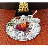 GoldGiftIdeas 12 Inch Sarovar Silver Plated Pooja Thali Set, Occasional Gift, Pooja Thali Decorative, Wedding Gift