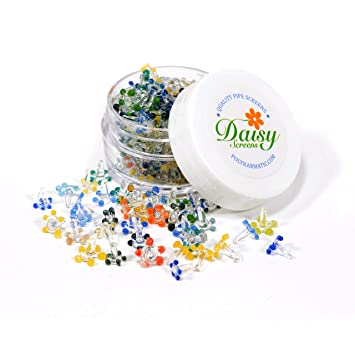 Polykarmatic Glass Daisy Screens for Pipes(100 pcs w/BPA free  breakage-proof container)