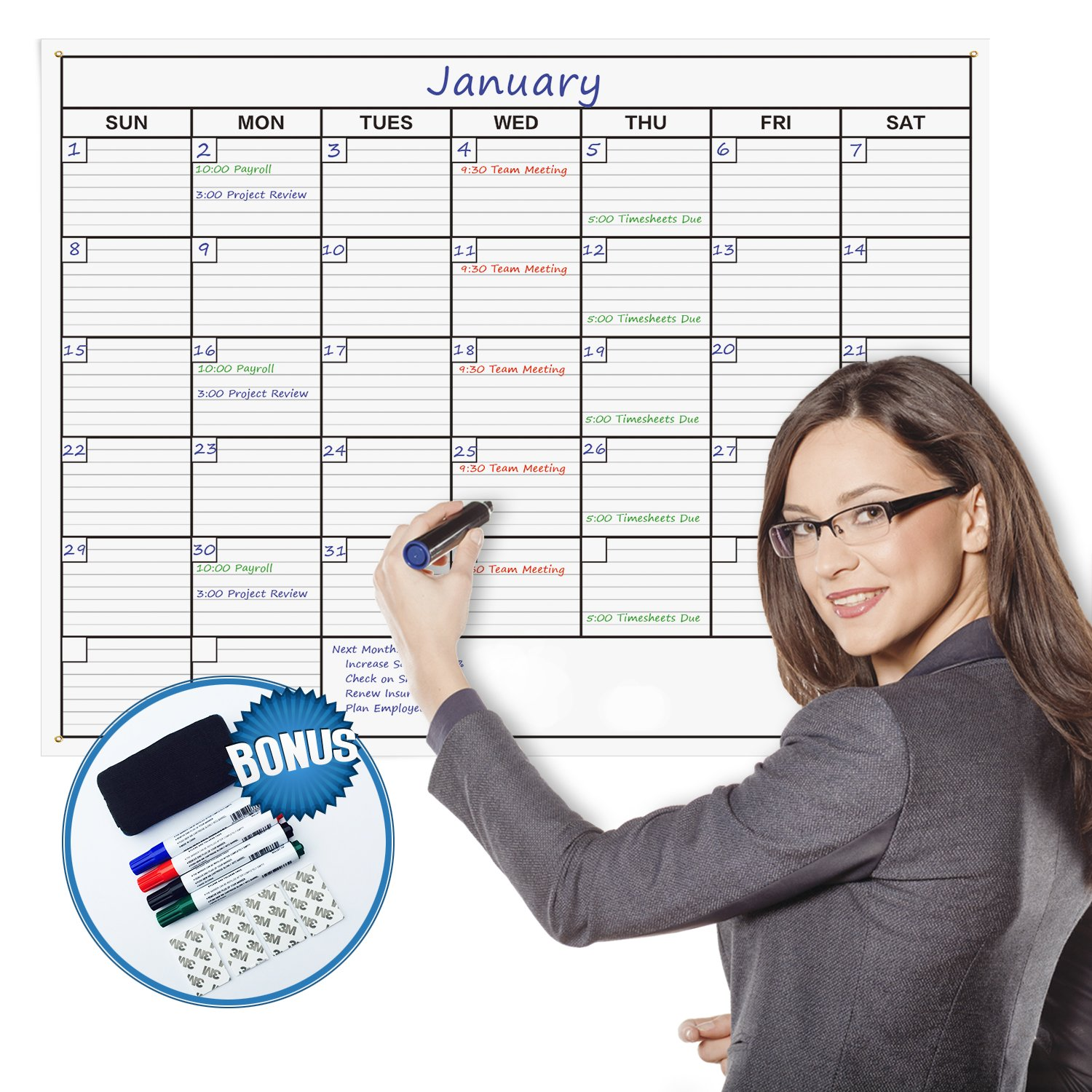 Delane Large Dry Erase Wall Calendar Planner, 24 x 36 Inch Erasable Calendar and 4 Double Stick Mounting Foam Pieces - Jumbo by Delane
