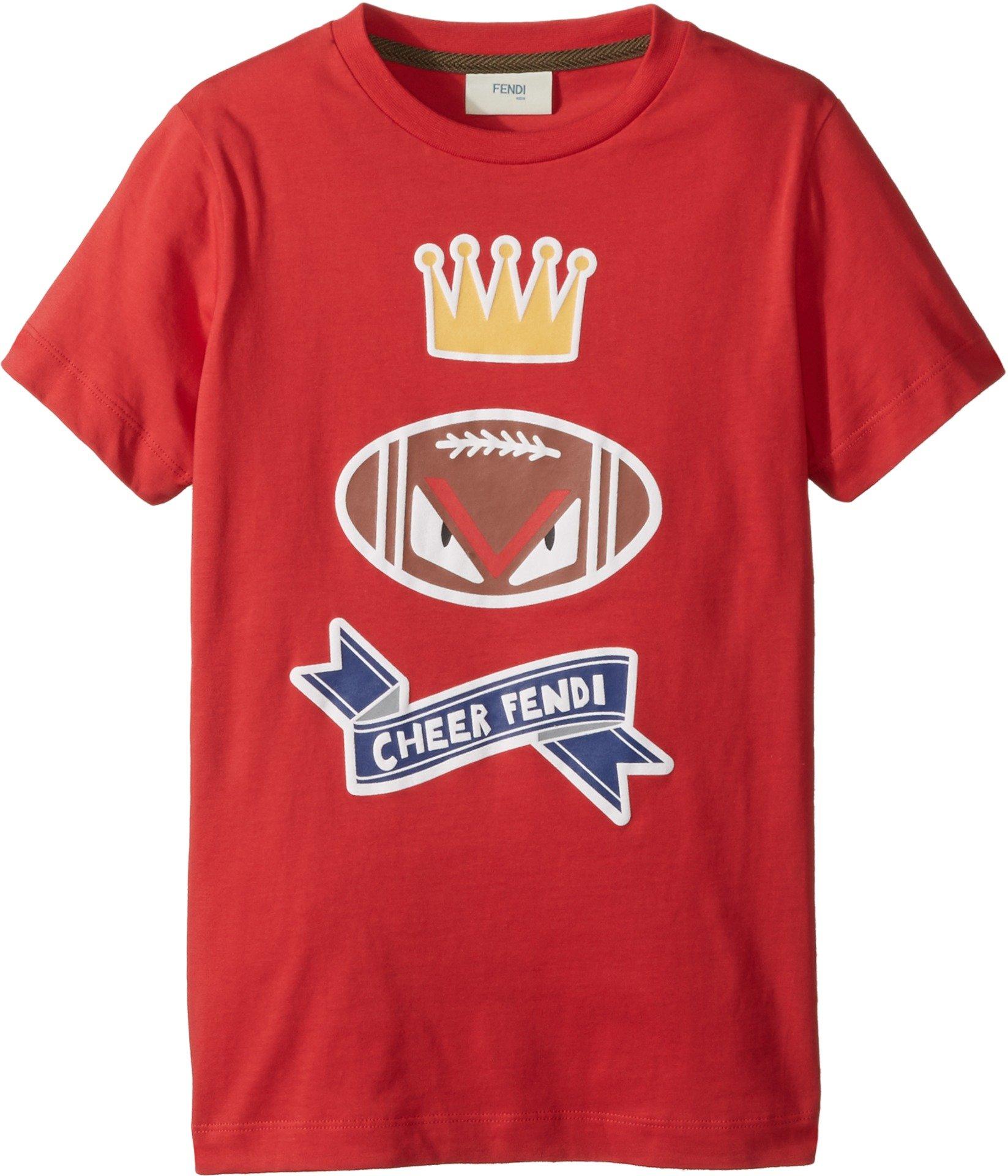 Fendi Kids Boy's Short Sleeve 'Cheer Fendi' Football Graphic T-Shirt (Little Kids) Red 8 Years