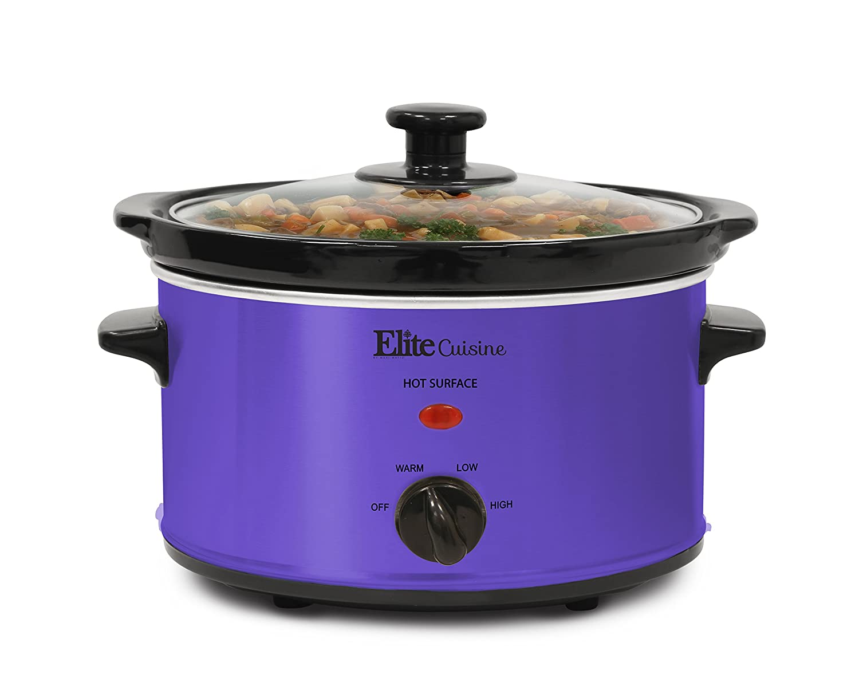 Elite Cuisine MST-275XP Electric Slow Cooker, Adjustable Temp, Entrees, Sauces, Stews & Dips, Dishwasher-Safe Glass Lid &Ceramic Pot, 2Qt Capacity, Purple