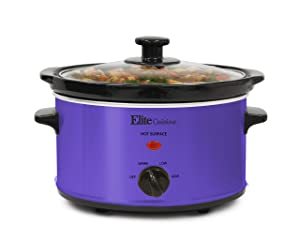 Elite Cuisine MST-275XP Electric Slow Cooker, Adjustable Temp, Entrees, Sauces, Stews & Dips, Dishwasher-Safe Glass Lid & Ceramic Pot, 2Qt Capacity, Purple