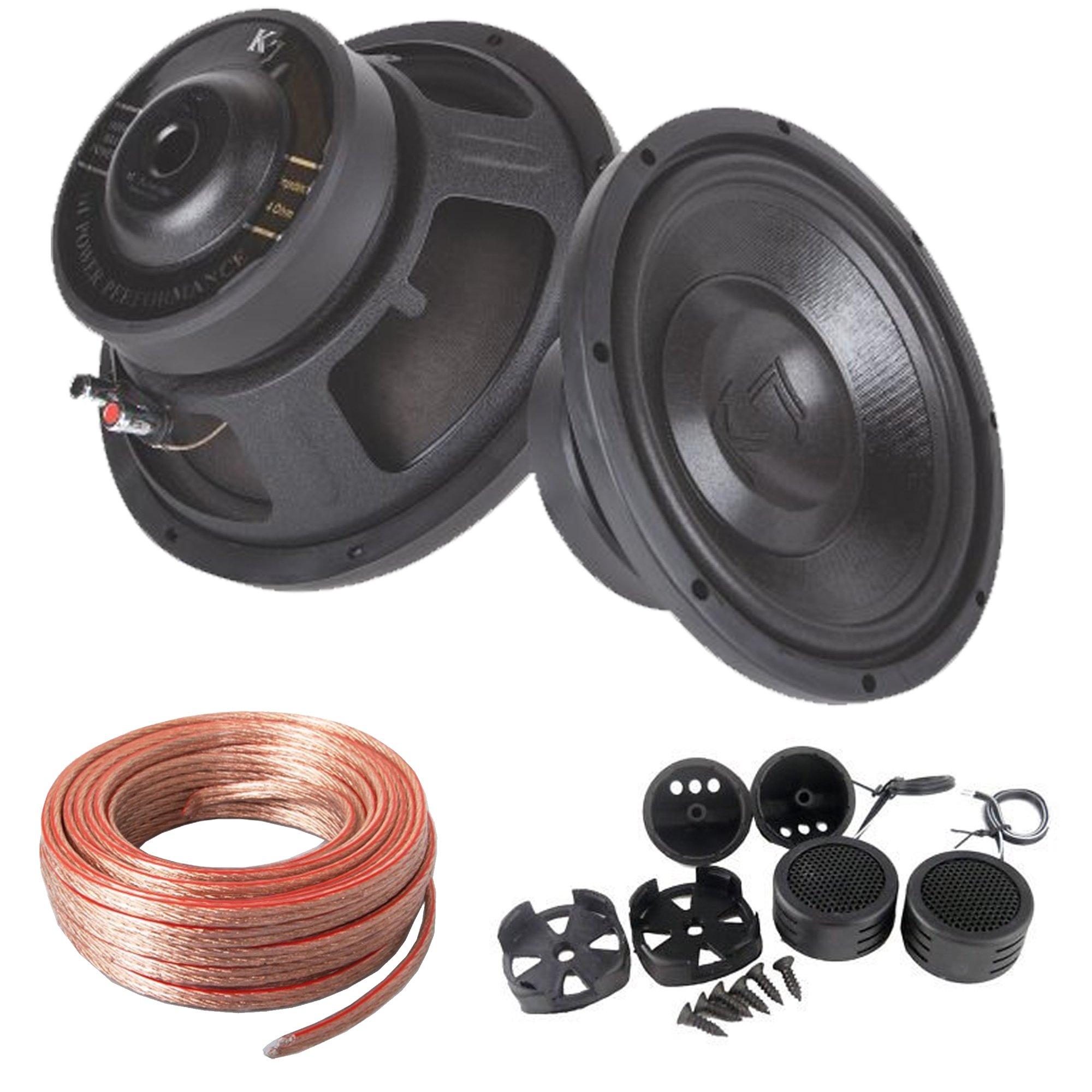 Audiotek Package Deal : Pair of K710 1000 Watt 10'' Professional Car Subwoofer 4 OHM + AB-204TW 300W Tweeter + 25 Feet 12 Gauge Cables