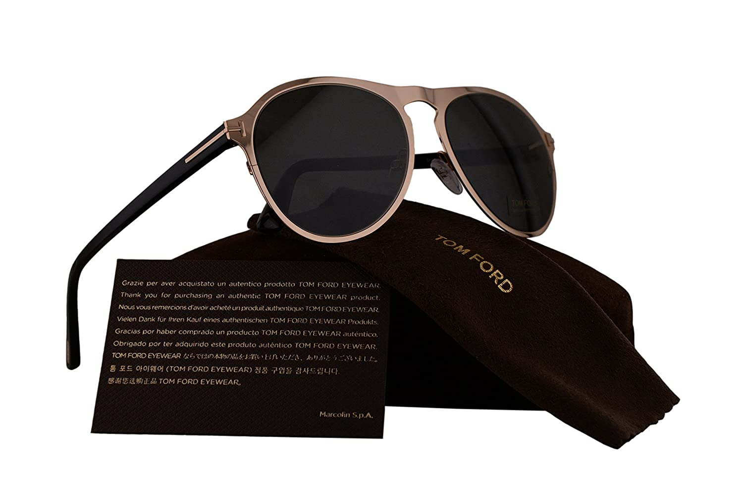 0173019b1bc6 Amazon.com  Tom Ford FT0525 Bradburry Sunglasses Gold w Grey Lens 28A TF525  FT525 FT 525 TF 525  Clothing