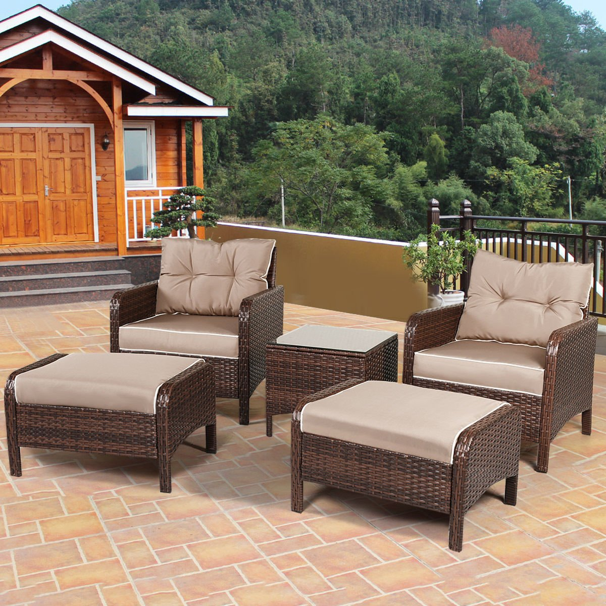 TANGKULA Wicker Furniture Set 5 Pieces PE Wicker Rattan Outdoor All Weather Cushioned Sofas and Ottoman Set L