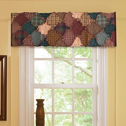 Donna Sharp Valance – Campfire Lodge Decorative Window Treatment with Patchwork Pattern