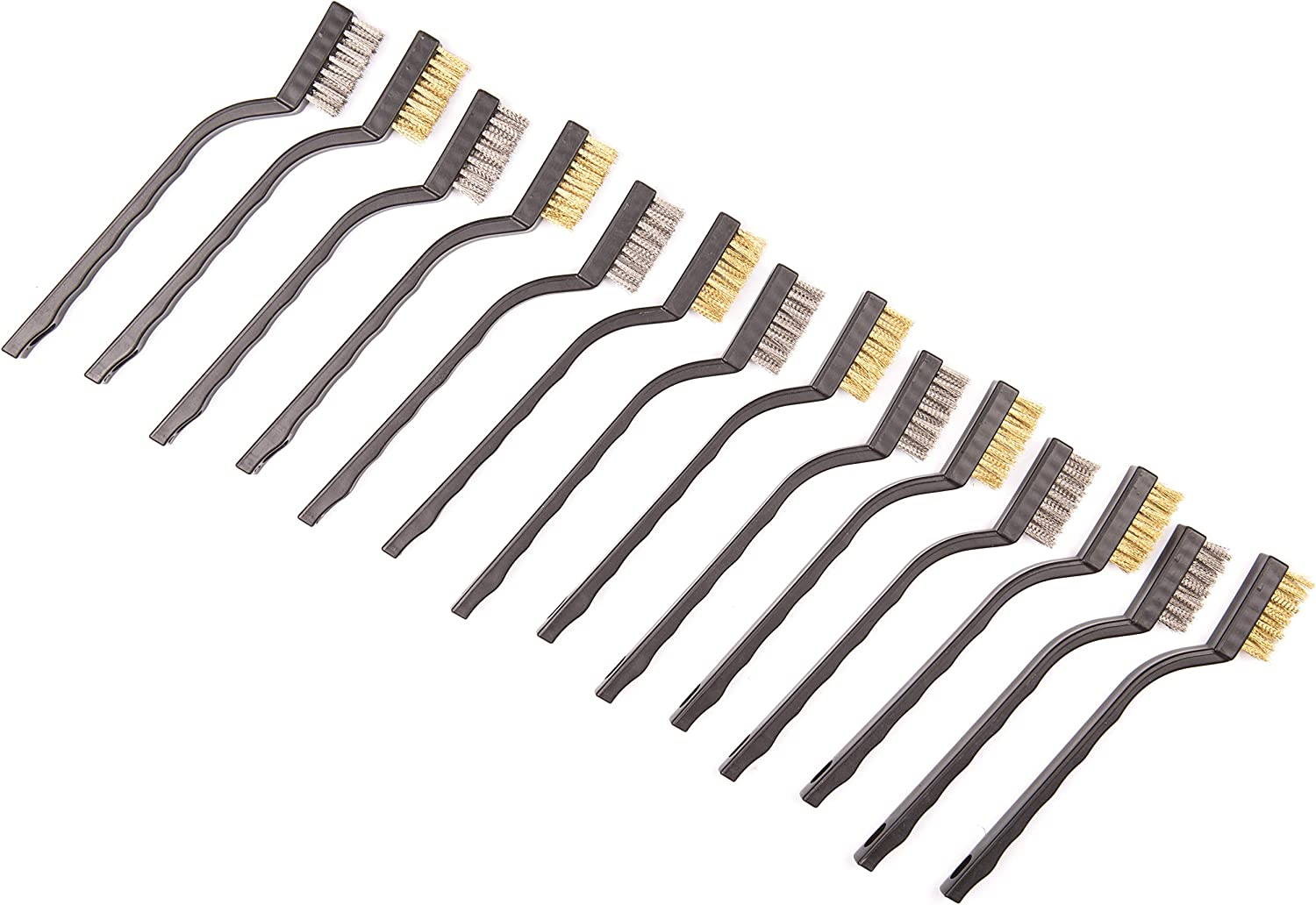 14 Pack Wire Brush Set for Cleaning Welding Slag and Rust, Curved Handle Masonry brush Wire bristle Scratch Brush (Stainless Steel and Brass)