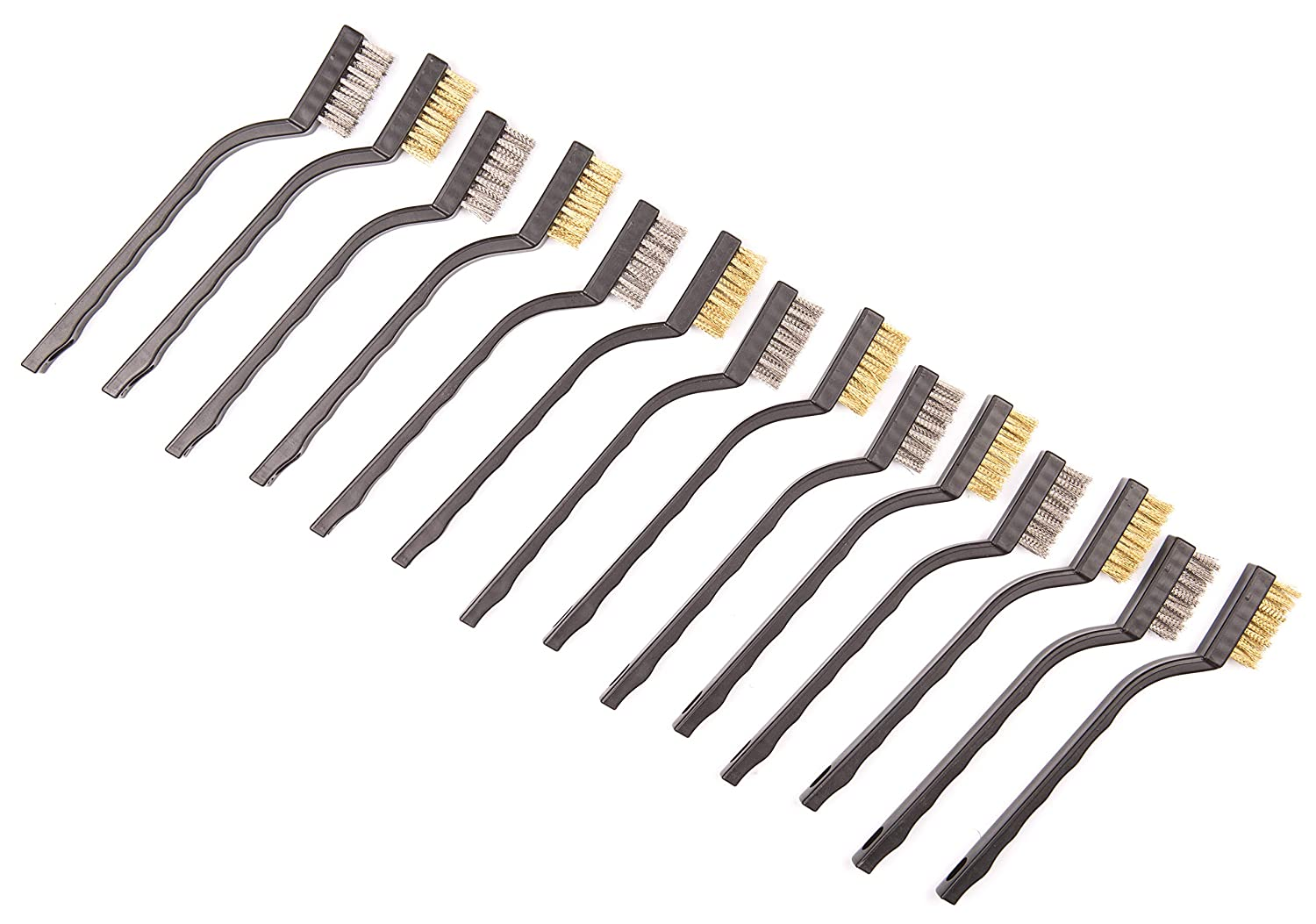 14 Pack Wire Brush Set for Cleaning Welding Slag and Rust Curved Handle Masonry brush Wire bristle Scratch Brush Stainless Steel and Brass