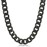 Crucible Jewelry - Collar (9 mm) de Cadena de Acero Inoxidable para Hombre, Color Negro, 60.96 cm