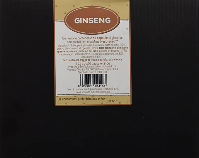 50 Cápsulas de Café soluble compatibles Nespresso sabor ginseng - 50 Cápsulas compatible con maquinas Nespresso
