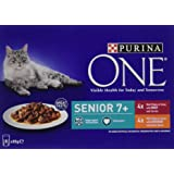 Purina ONE Senior 7+ Cat Food Chicken and Beef - 5x8x85g (40 Pouches)