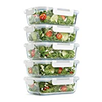 Fit & Fresh Glass Containers, Set of 5 Containers with Locking Lids, Meal Prep,...