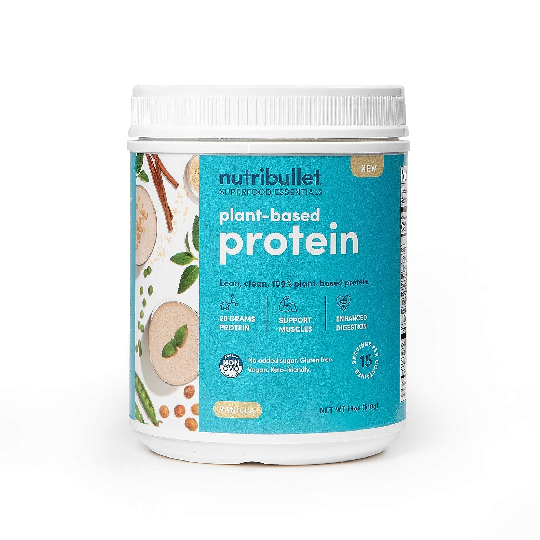 NutriBullet Superfood Essential Plant-Based Protein (Non-GMO, No Sugar Added, gluten free, vegan, keto-friendly, 9 essential amino acids, enzyme blend to enhance digestion), Vanilla, 15 Serving Tub