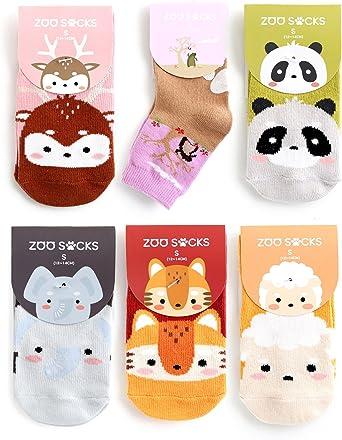 ZOO SOCKS Girls 6 Pack Animal Printed Anti-Slip Ankle Socks Girls Set 005 FreeShipping