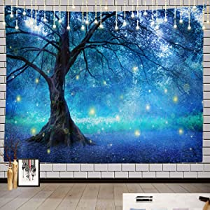 Batmerry Fairy Tree Forest Tapestry, Mystical Fantasy Forest Blue Nature Picnic Mat Hippie Trippy Tapestry Wall Art Meditation Decor for Bedroom Living Room Dorm, 59.1 x 82.7 Inches, Light Blue