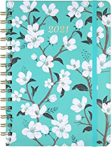"2021 Planner - Weekly & Monthly Planner with Tabs, 6.3"" x 8.4"", Jan 2021 - Dec 2021, Hardcover with Back Pocket + Thick Paper + Banded, Twin-Wire Binding - Teal Floral"