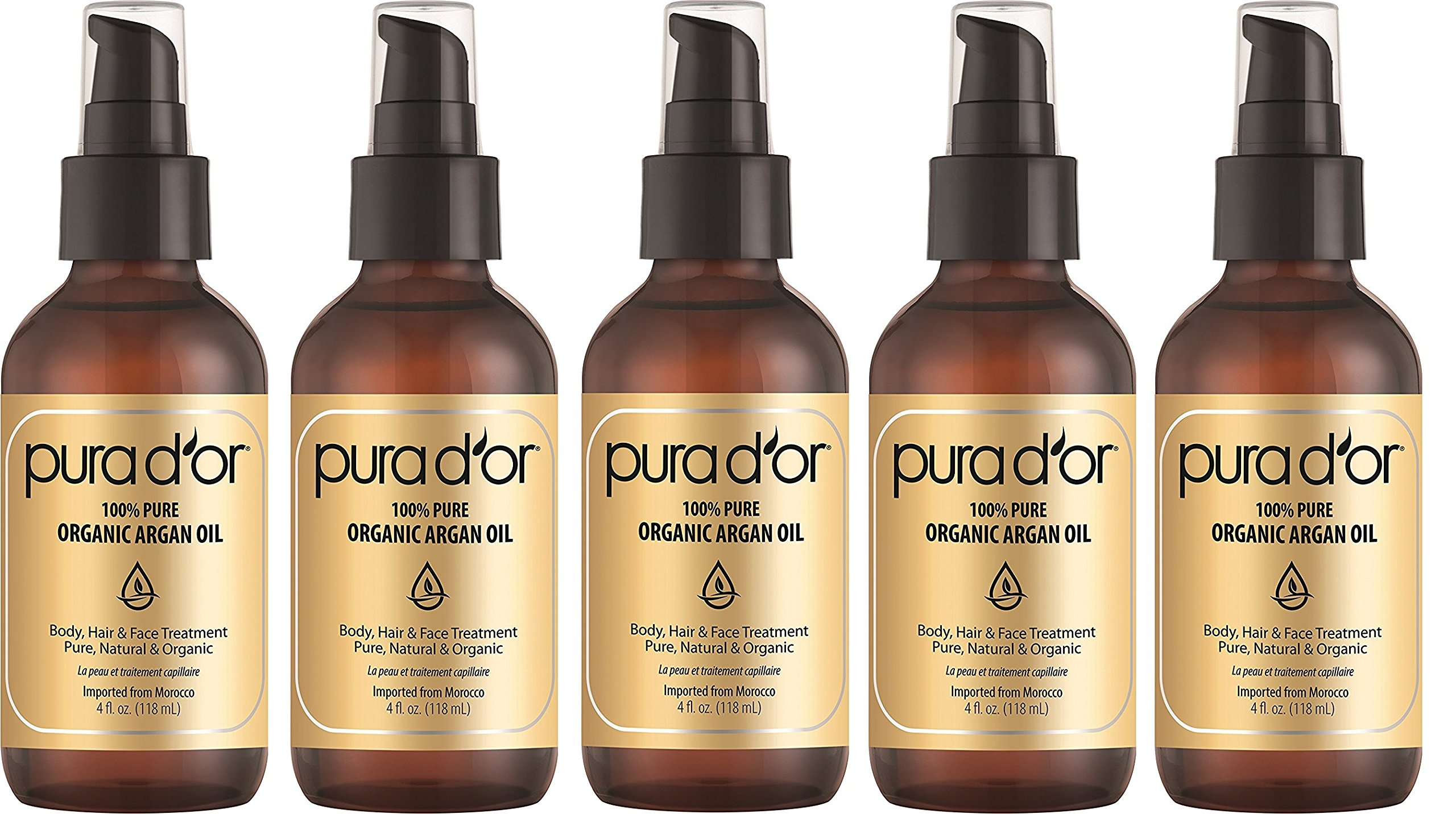 PURA DOR Organic Moroccan LtZjdP Argan Oil 100 Percent Pure Cold Pressed and USDA Organic Anti-Aging For Face, Hair, Skin and Nails, 4 Fluid Ounce, 5 Pack