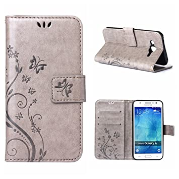 MOONCASE Galaxy J5 (2015) Funda Flor Carcasa Cuero Tapa Cover para Samsung Galaxy J5 (2015) Bookstyle Cartera TPU Case con Función de Soporte Gris