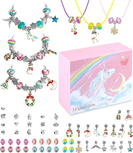 DIY Pendant Charms for Bracelets Necklaces Set with Xmas Rainbow Crystal Beads HiUnicorn Christmas Unicorn Gift Jewelry Making Kit for Teen Girls Handmade Craft Supplies with Pink Gift Box
