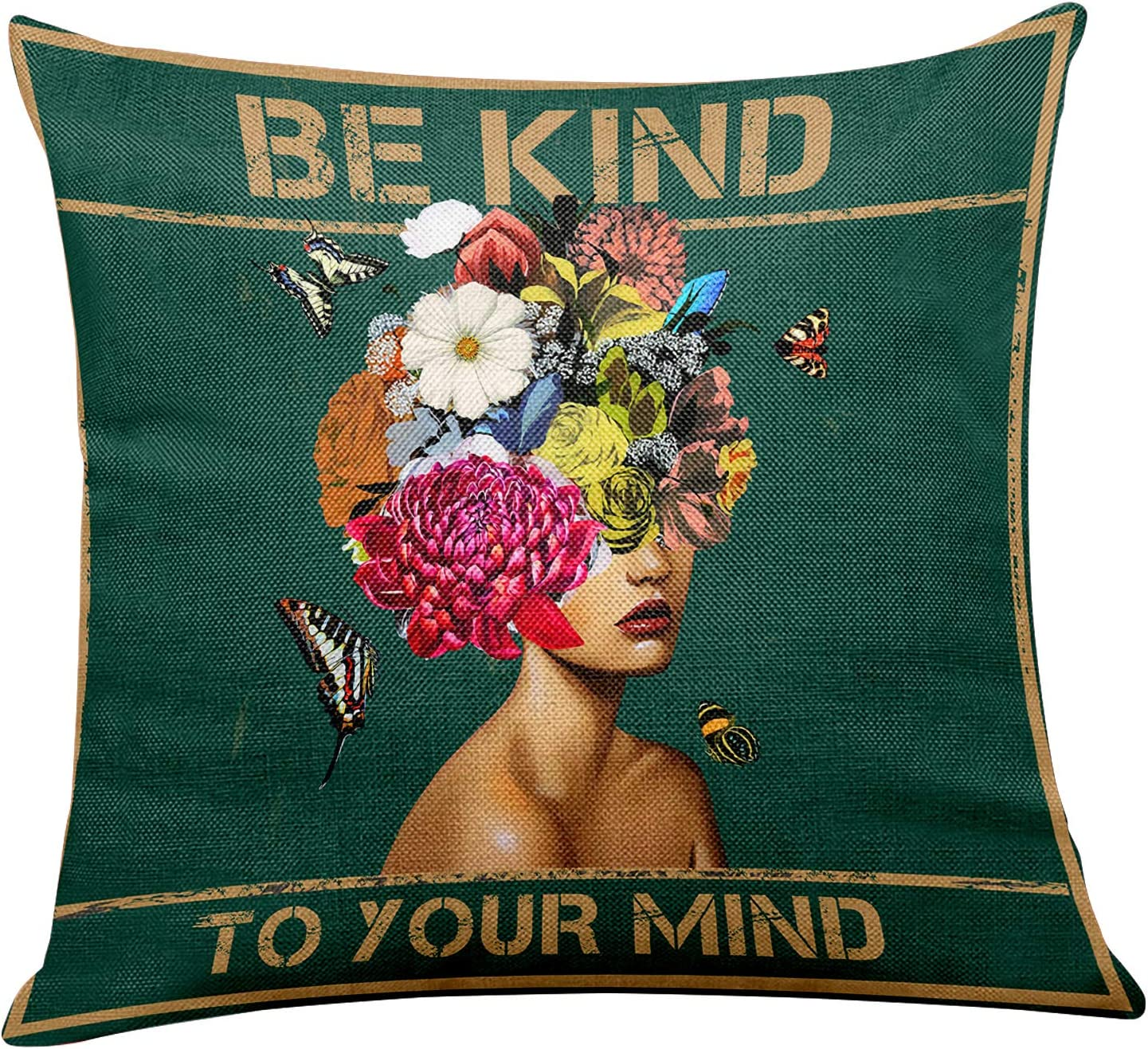 yuzi-n Vintage Be Kind to Your Mind Inspirational Quotes Pillow Covers, Retro Pillow Covers for Office/Home/Living Room Sofa Couch Decor 18 x 18 Inch