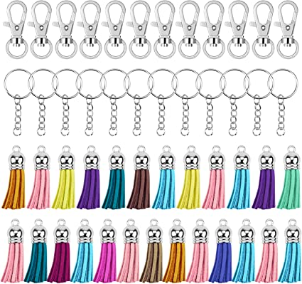 Swivel Clasps Suede Tassel Keychain Ring Parts Accessories for DIY Craft Projects Making Jewellery Findings Hysagtek 125 Pcs Key Chain Rings Bulk Split Key Ring with Chain and Jump Rings