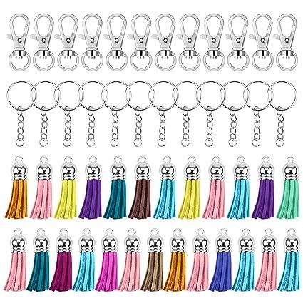 Hysagtek - Juego de 125 llaveros de anillas giratorias, llavero con cadena y anillos, borla de ante, accesorios para bricolaje, manualidades, ...