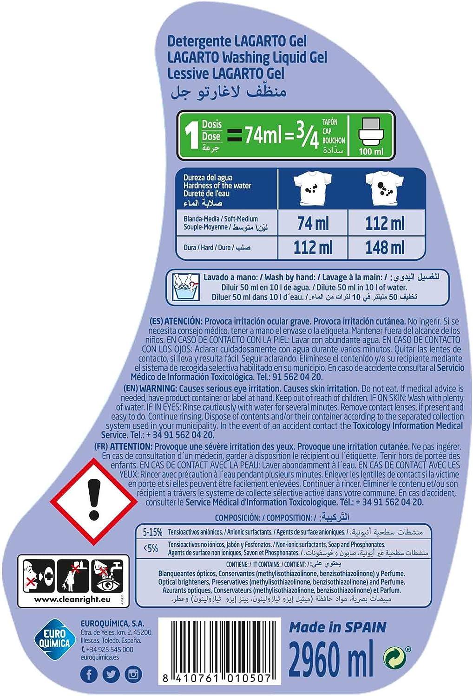 Lagarto Botella Detergente Lavadora Liquido - Gel - 40 Lavados ...
