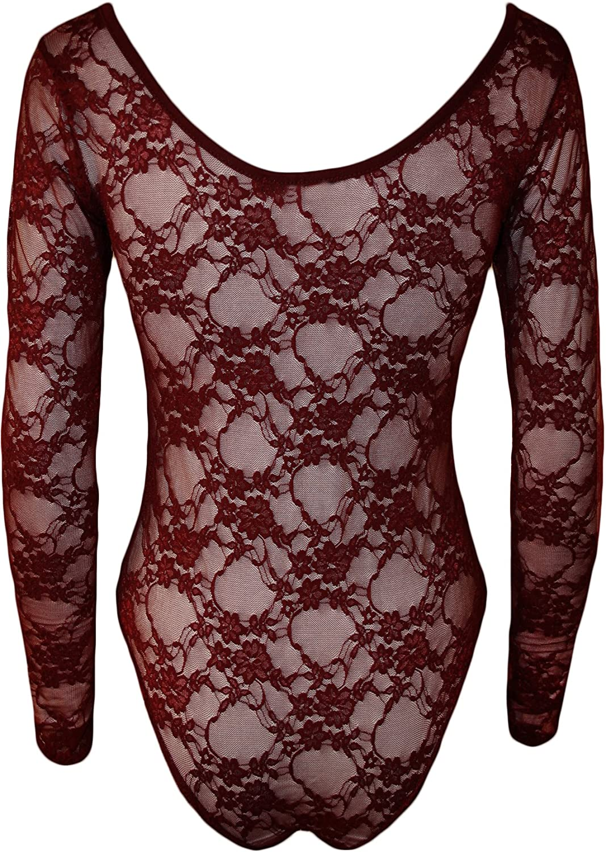 WearAll - Damen Spitze Blumen Elastisch Stretch Langarm Body Gymnastikanzug  Top - 9 Farben - Größe 36-42: Amazon.de: Bekleidung