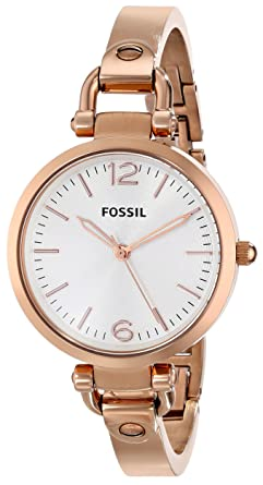 bd9f153f85c Fossil Women s ES3110 Georgia Three Hand Stainless Steel Watch - Rose Gold- Tone