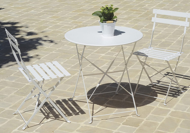 PEGANE Table de jardin pliante carrée coloris blanc (chaises ...