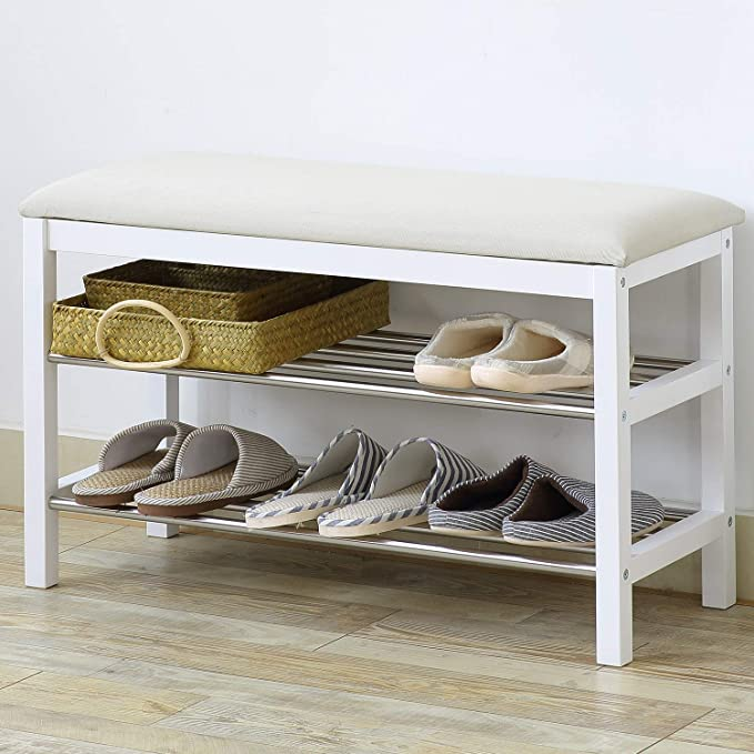 Amazon.com: Banco de madera Concept ZJ-MJ004, estante de ...