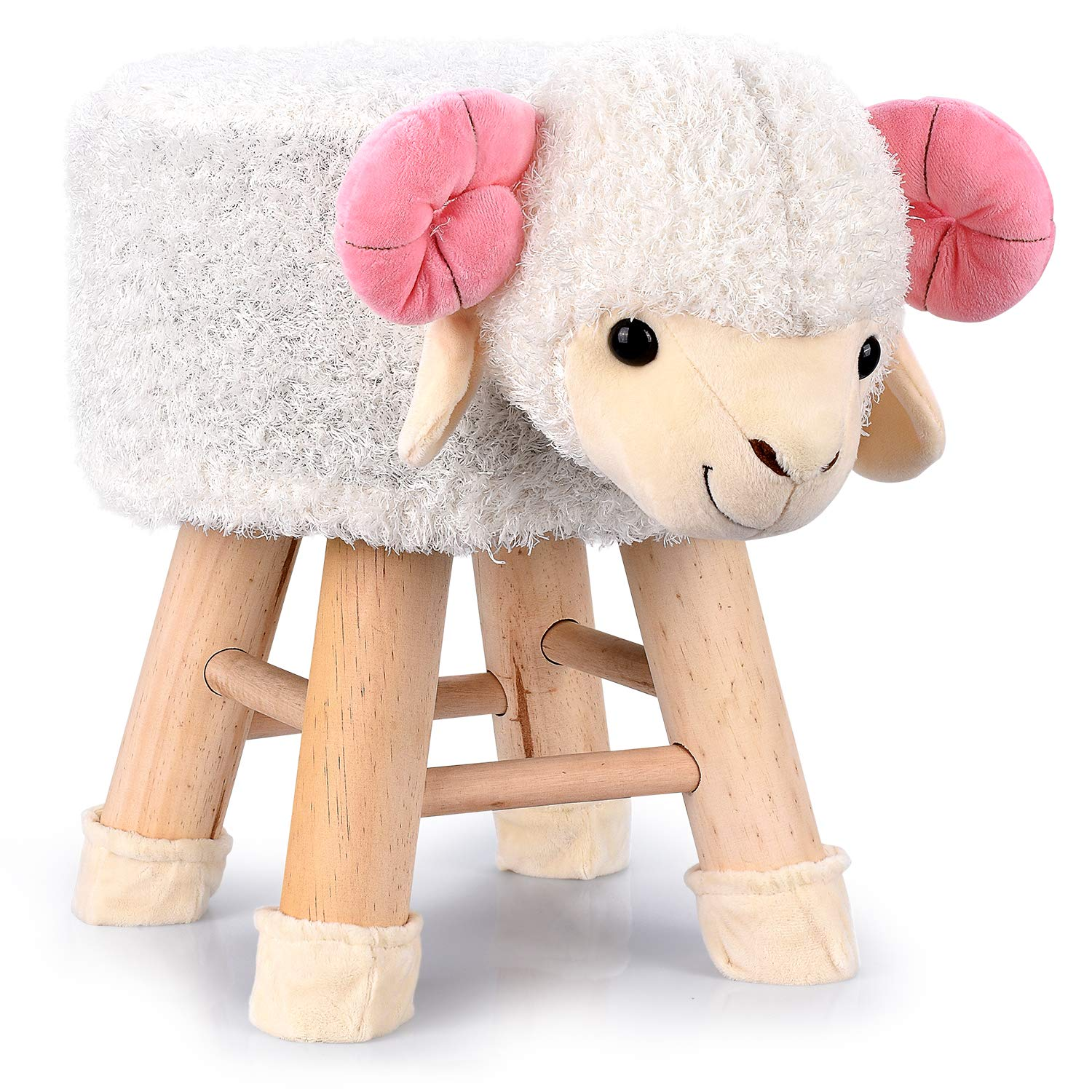 Abco Tech Animal Ottoman Padded Footstool – Two Cute Animal Variants – Cute Goat & Cuddly Panda Footstool Designs – Ideal for Nurseries, Play Rooms and Living Rooms
