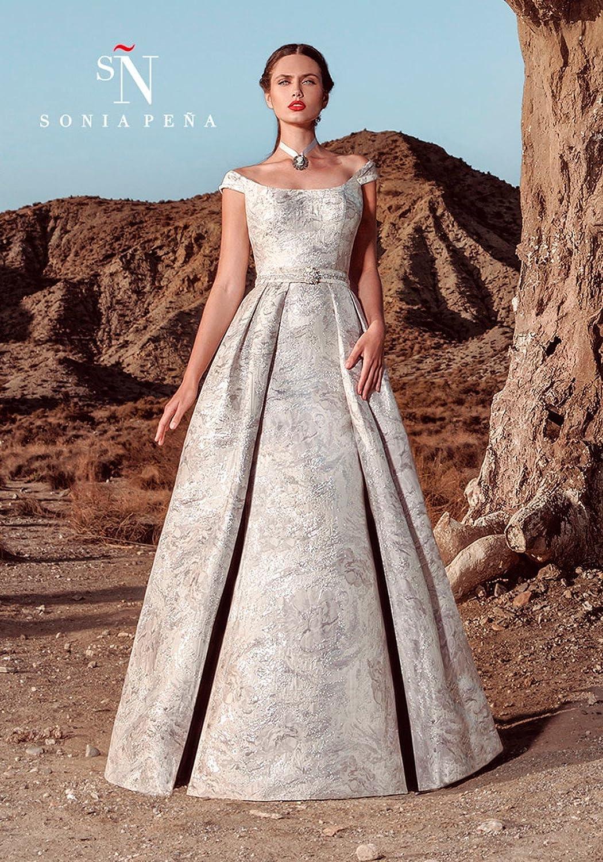 27fe430cae28 Sonia Pena Vestito Lungo Cerimonia Donna Argento 11170183  Amazon.it   Abbigliamento