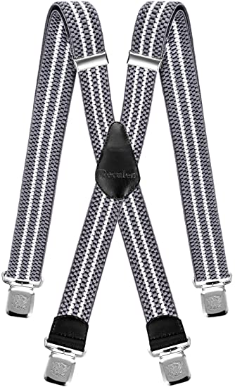 Decalen Mens Braces with Very Strong Clips Heavy Duty Suspenders One Black